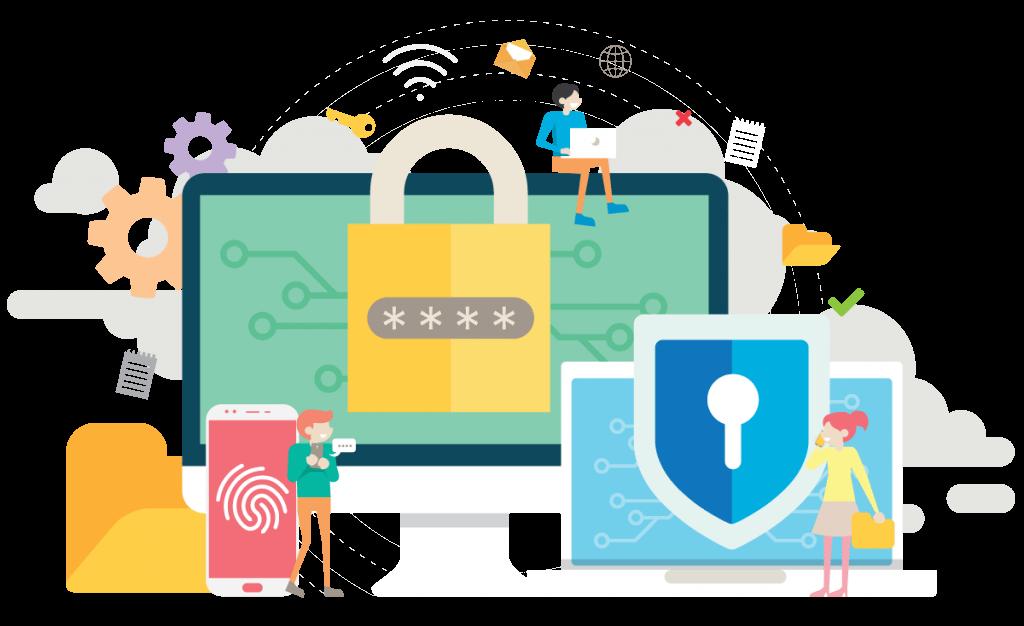 illusztráció számítógép, laptop és mobil biztonságról